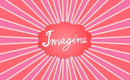 Imagine, cloud, radial rays, red, pink, backdrop, concept photo