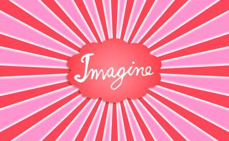 escarapelas: Imagínese palabra en una nube roja con rayos radiales en rojo y rosa