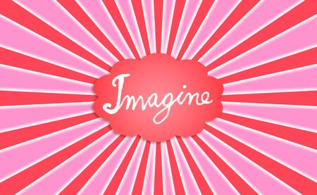 rosettes: Imagine word in a red cloud with radial rays in red and pink