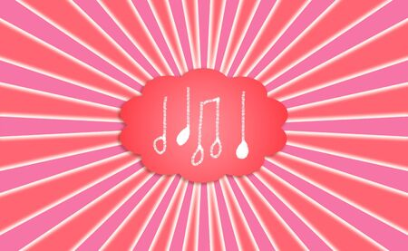 simetry: Energic music notes in a red cloud with radial rays in pink Stock Photo