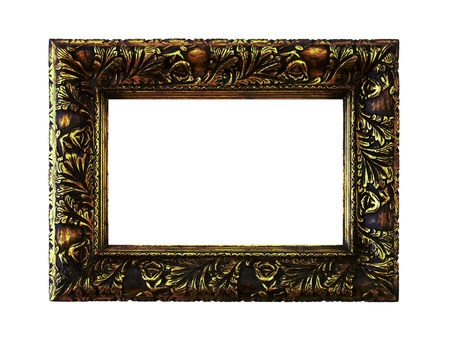 Vintage gold frame in carved wood isolated on white background photo