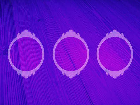 Three circular empty frames in luminous indigo purple