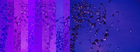 Three circular empty frames in luminous indigo purple