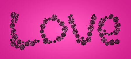 Word love in black crochet circles as flowers isolated over pink photo