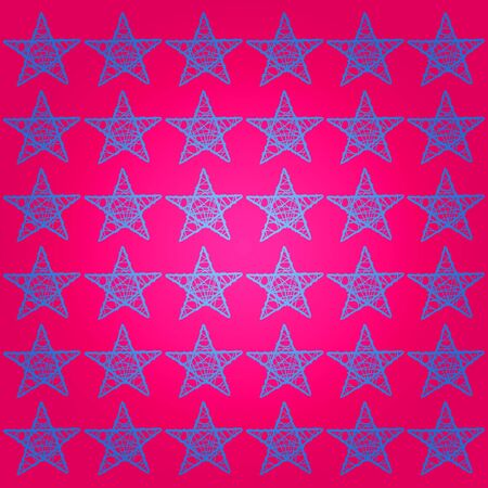 Contrast of blue stars pattern over intense pink background photo