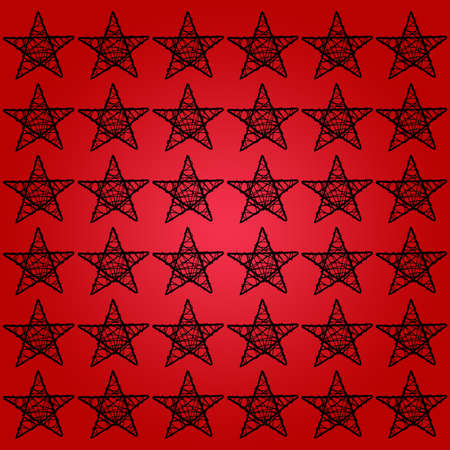 Black pattern of stars on red xmas background photo