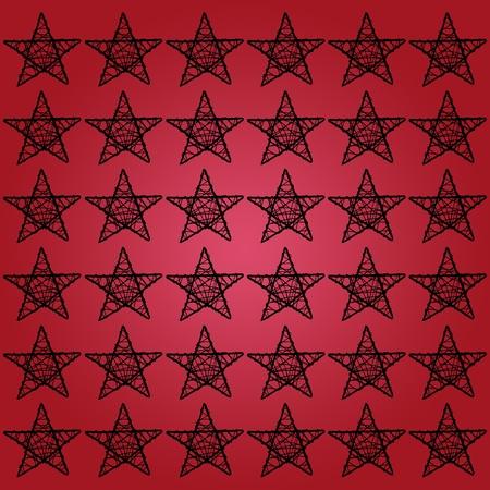 sobrio: Negro cinco puntos patr�n de estrellas sobre fondo rojo sobrio Foto de archivo