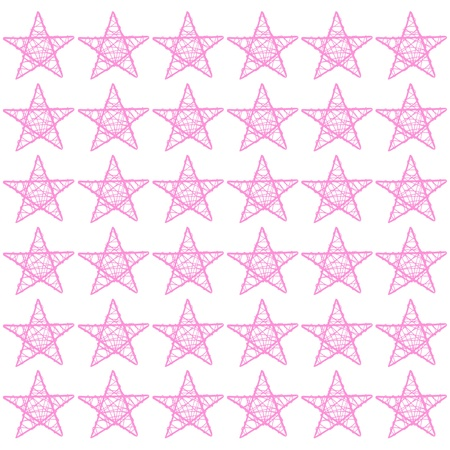 Light pink stars of five points pattern on a white square photo