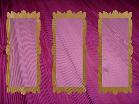 Three empty frames on pink purple old wood background