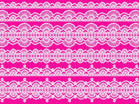 sofisticated: White crochet laces patterns in lines over pink