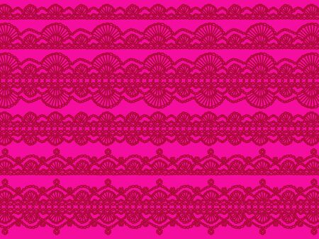 Red vintage transparent crochet laces on pink background photo