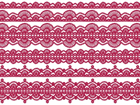 needle laces: Sexy red vintage crochet patterns isolated on white background