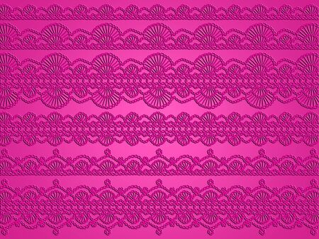 picots: Femenine pink crochet patterns and backdrop Stock Photo