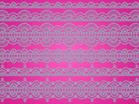 Light blue delicacy of crochet laces over pink backdrop photo
