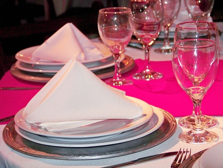 Pink and white elegant wedding party table