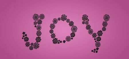 Word joy of black crochet circles on soft pink backdrop Stock Photo - 13385711