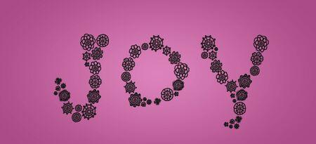 digitals: Word joy of black crochet circles on soft pink backdrop Stock Photo