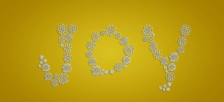 composing: Subtleness and elegance of white crochet flowers composing joy on gold background