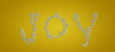Subtleness and elegance of white crochet flowers composing joy on gold background photo