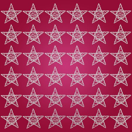 White pattern of five points stars over garnet red purple background photo