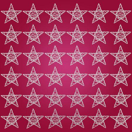 purpleish: White pattern of five points stars over garnet red purple background