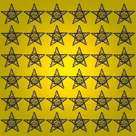 Five points stars like black silhouettes over brilliant yellow golden background Stock Photo - 13385728