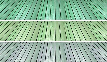 oldish: Three green old grunge wood floors backgrounds