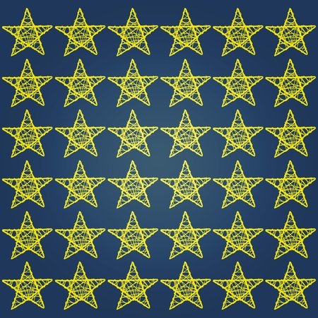 Yellow stars on dark marine blue night sky background photo