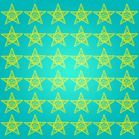 greenish: Yellow five points stars over turquoise background