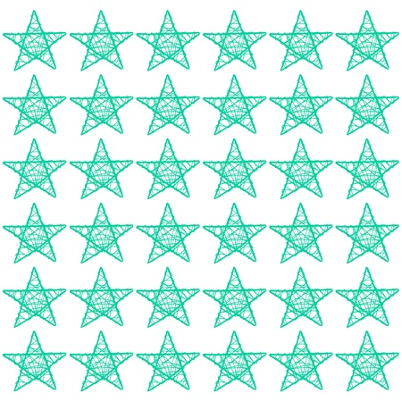 Green turquoise xmas stars pattern isolated on white photo