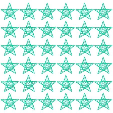 subtlety: Green turquoise xmas stars pattern isolated on white Stock Photo