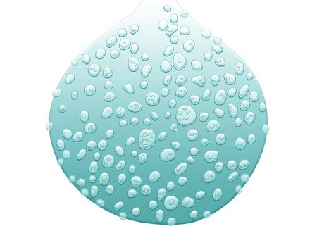 Light blue water drop with little drops isolated on white background  photo