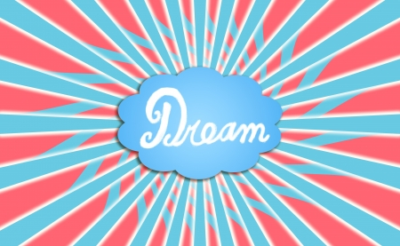 word balloon: Dream cloud balloon in blue, red and white