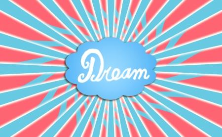 feeling positive: Sue�o con bal�n de nubes de color azul, rojo y blanco