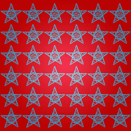 Light blue  five points stars pattern over red background photo