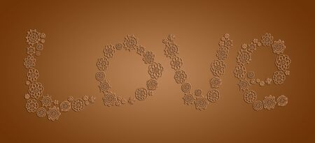 picots: Sober background with love in chocolate brown of vintage crochet Stock Photo