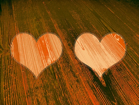 romaticism: Two orange halloween heart shapes in old striped wood