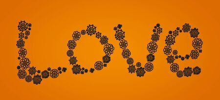 digitals: Love word in black vintage crochet flowers over orange background for Halloween
