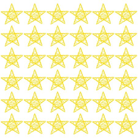 Gold stars of five points pattern isolated over white photo