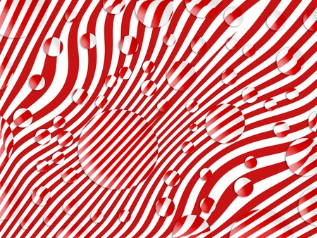 Funky candy background with red and white stripes wet with circular spray drops Stock Photo - 13525155