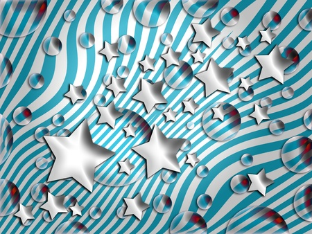 Funky patriotic background with stars, bubbles and stripes photo