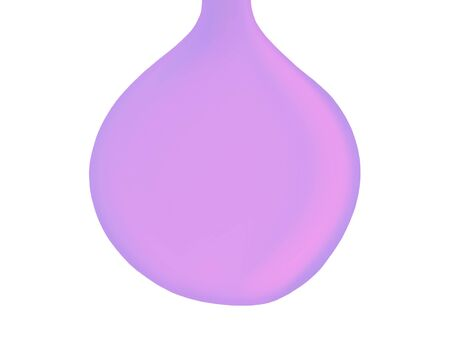Pale soft lilac soap drop falling isolated on white background photo