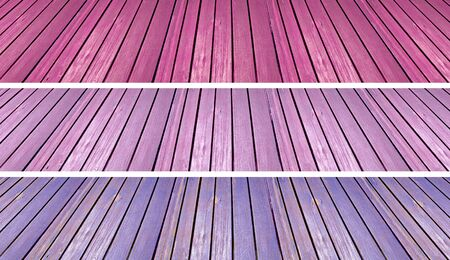 purpleish: Pink, violet and purple floors of old wood in perspective Stock Photo