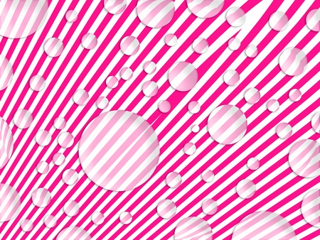 Diagonal striped pattern in pink and white with soap bubbles floating Stock Photo