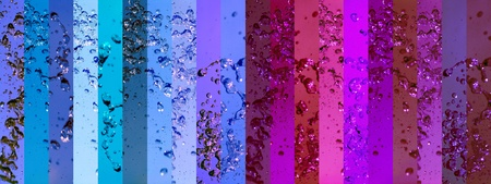 aurasoma: Pink femenine and blue masculine backgrounds in one background with wet banner with drops