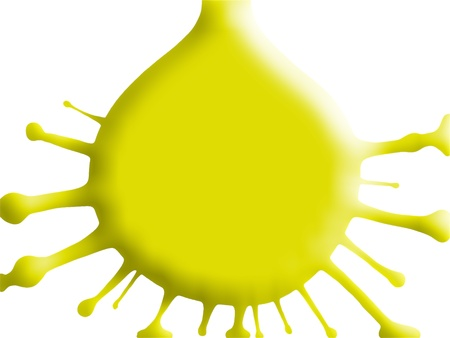 Yellow simple drop splash illustration isolated on white illustration