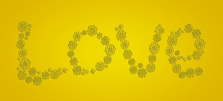 Yellow, love, xmas, word, crochet, flowers, elegance, subtle