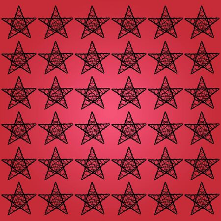 Black stars pattern over red square background photo