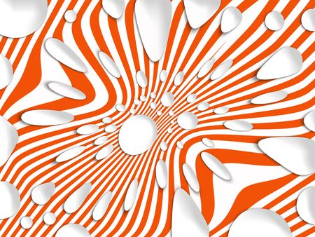 Sinking striped background in orange with white falling balls photo