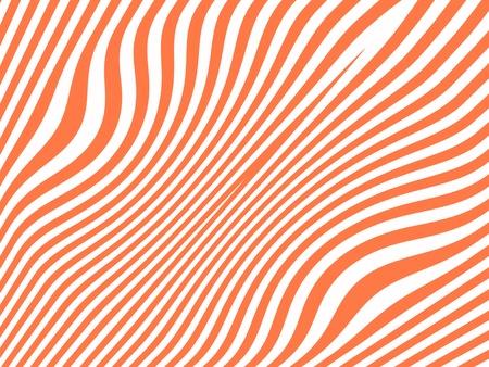 fuchsia color: Salmon orange curved stripes isolated on white
